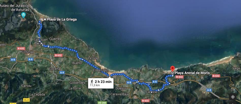 Recorrido desde Playa Arenal de Morís hasta Playa de la Griega.